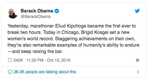 Barak Obama - Brigid Kosgei - World record Rosa Associati