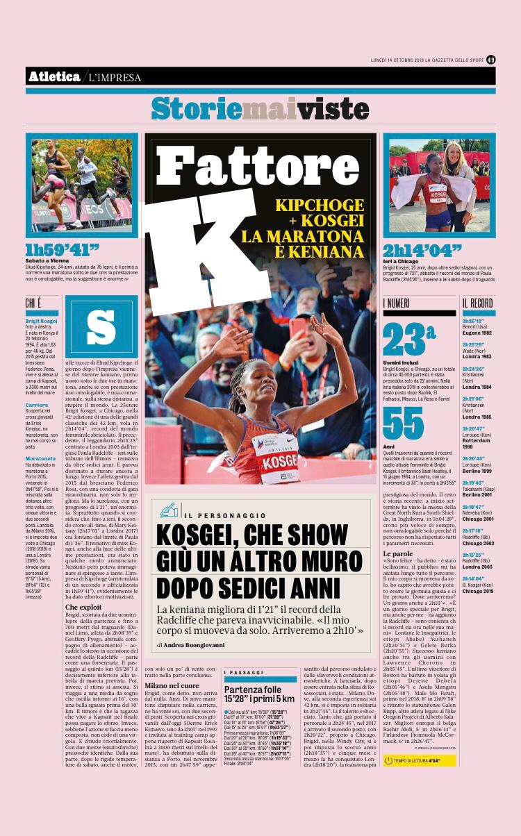 Kosgei che show - Gazzetta dello sport - Rosa associati
