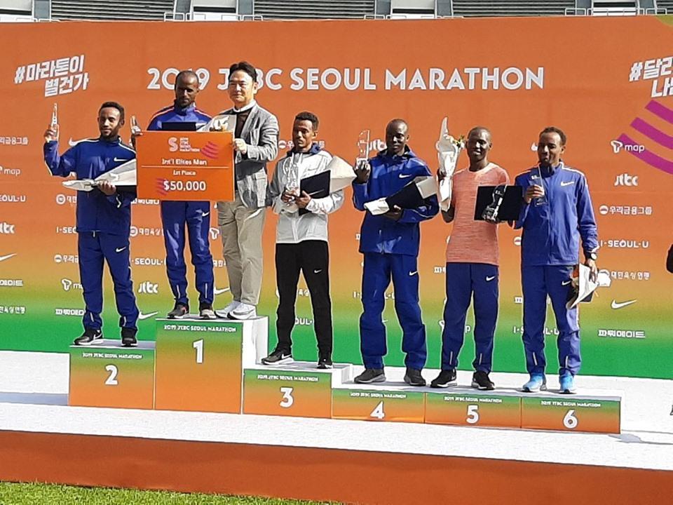 shifera tamru 1 - emmanuel kichwen 4 - takiru bekele 6 - seoul marathon 2019 - rosa associati