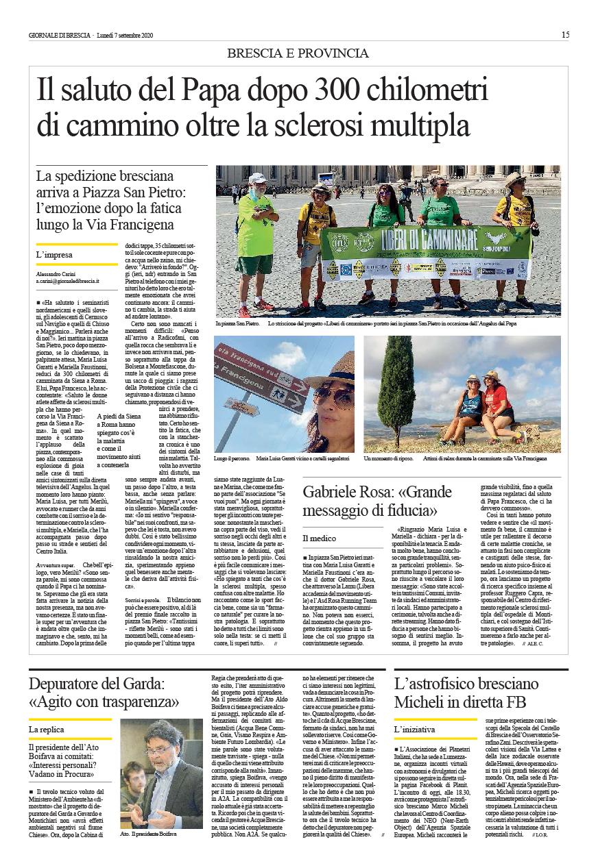Giornale di Brescia _ 07 settembre 2020 _ immagine